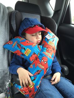 I made this, sew it just by hand, seatbelt pillow for my toddler because he always went to sleep every time we're gone for a family day bonding  #seatbeltpillow #spidermanseatbeltpillow