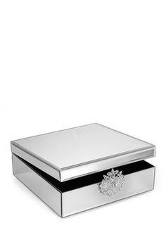 Brooch Detail Mirror Silver Jewelry Box