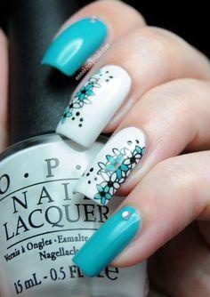 Uñas largas azules - Blue long nails