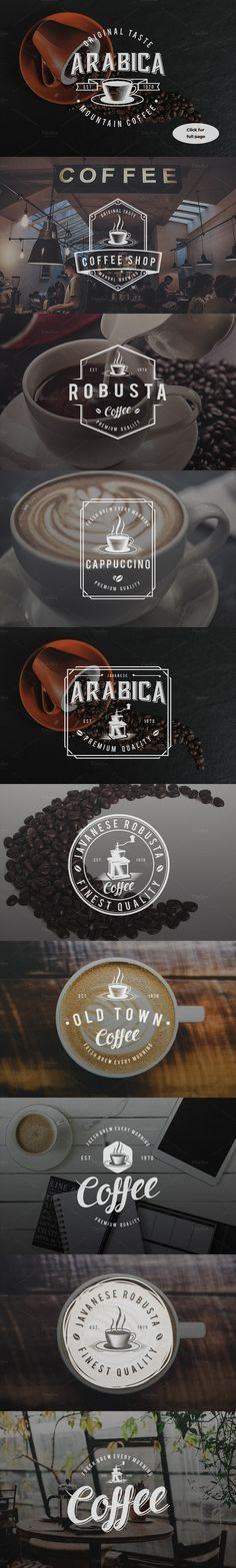 10 Vintage Coffee Logo Badges: logo templates perfect for branding a coffee shop ☕️                                                                                                                                                                                 Más