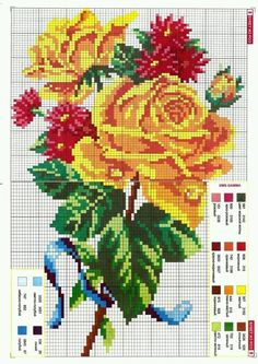 Golden roses X-stitch Cross Stitch Boards, Cross Stitch Rose, Cross Stitch Flowers, Cross Stitching, Cross Stitch Embroidery, Embroidery Patterns, Crochet Chart, Loom Patterns, Plastic Canvas Patterns