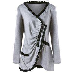 LS Fashion Lace Asymmetrical Women s Fashion Top XL-5XL Long Blouse 49af1a2aabe3