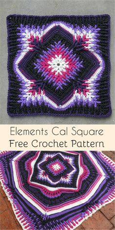 Elements Cal Square for Blankets, Pillows, Centrepieces [Free Crochet Pattern] #crochet #crochetlove #crochetaddict #square