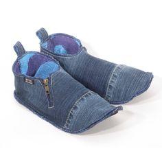 Denim Hausschuhe recycelten Jeans von INTOAdesign auf Etsy, €42.00