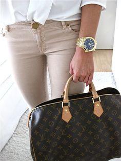 white shirt • tan skinnies • louis vuitton • gold watch(blue face)