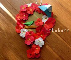 【 折り紙リース 壁面飾り 】 新春 梅 1月 ハンドメイド