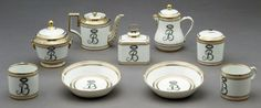 Traveling Tea service, France, c.1788, Hard-paste porcelain, with two teacups, milk jug with cover, sugar bowl with cover, tea pot, tea canister, two bowls. Marking: [1] MANUFRE/De MGR. le Duc/d'angouleme/a Paris (in red) [2] M (in gold). All packs neatly into a leather traveling trunk with lock and key.
