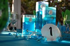 Beach wedding centerpieces done by me =)