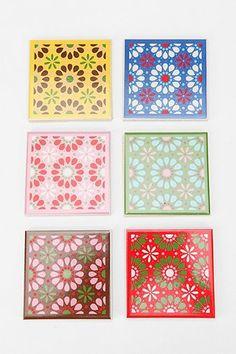 Floral Tile Coaster - Set Of 6