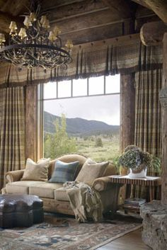Master Bedroom Sitting Area designed by Rinfret Ltd. Window Treatments Living Room, Custom Window Treatments, Living Room Windows, Western Rooms, The Big Comfy Couch, Drapery Designs, Looking Out The Window, Rustic Style, Rustic French