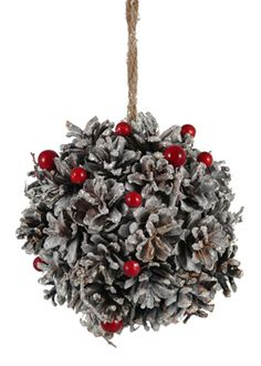 Real Pine Cone Red Berries Christmas Tree Holiday Ornament Party Decor