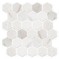 Royal White Polished Marble Hex Mosaic. 2 x 2 in. #thetileshop #backsplash