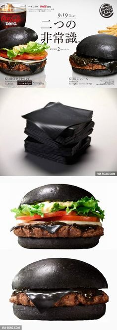 In Japan, Burger King Has A Black Cheese Burger #japan #japanese