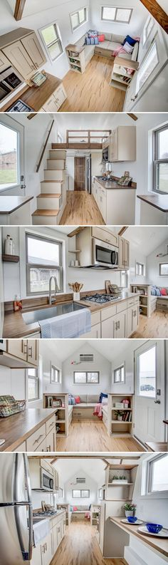 With its subtle color palette, the Pearl creates a relaxing environment while including all the creature comforts of home. The Pearl is a 24-foot tiny home built by Modern Tiny Living and based on their incredibly popular Kokosing model.