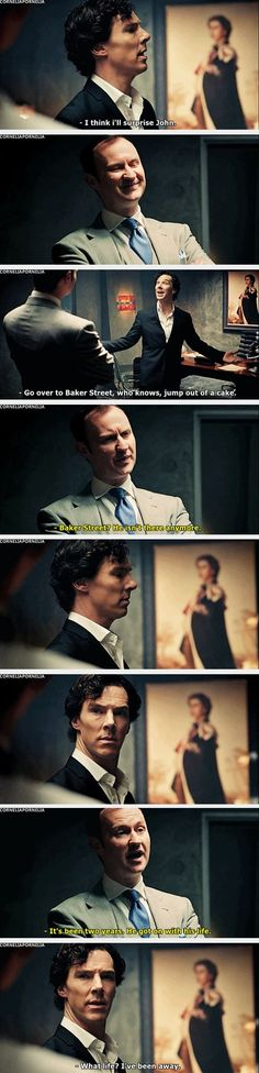 This is the moment where we realize exactly what has happened to sherlock. This one scene reveals so much about Sherlock. Sherlock doesn't know john isn't still at Sherlock Bbc, Sherlock Fandom, Benedict Cumberbatch Sherlock, Sherlock Season, Watson Sherlock, Jim Moriarty, Sherlock Quotes, Johnlock, Martin Freeman