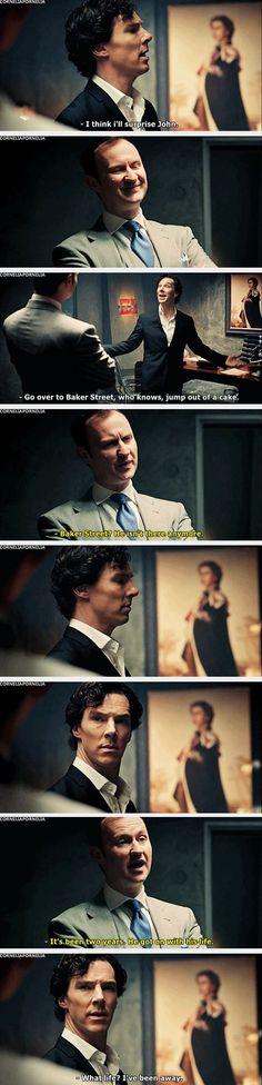 This is the moment where we realize exactly what has happened to sherlock. This one scene reveals so much about Sherlock. Sherlock doesn't know john isn't still at Sherlock Bbc, Sherlock Fandom, Benedict Cumberbatch Sherlock, Sherlock Books, Sherlock Season, Watson Sherlock, Jim Moriarty, Sherlock Quotes, Johnlock