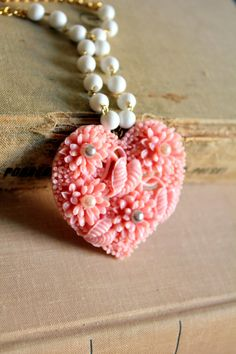 Pink heart necklace - shabby chic vintage style Victorian necklace with vintage bead rosary