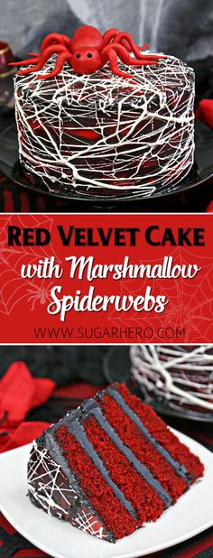 Red Velvet Marshmallow Spiderweb Cake—classic red velvet cake with black chocolate buttercream, covered with a web of marshmallow spiderwebs! | From SugarHero.com