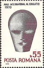 Bélyeg: badge of the UNESCO International Year of Education (Románia) (A Képzés Nemzetközi Éve) Mi:RO 2874,Yt:RO 2560,Rom:RO 740