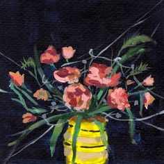 Navy and Yellow. Large giclee digital art print of still life painting.