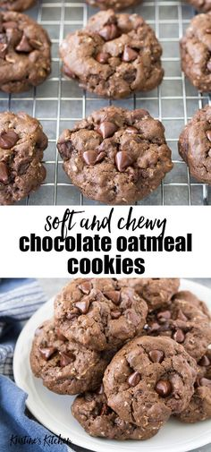 These Chewy Chocolate Oatmeal Cookies are rich and fudgy! Made with cocoa powder, chocolate chips and old fashioned oats, these soft and chewy chocolate chip cookies have a double dose of chocolate. The best easy chocolate oatmeal cookie recipe! Oatmeal Chocolate Chip Cookie Recipe, Healthy Oatmeal Cookies, Oatmeal Cookie Recipes, Chocolate Chip Recipes, Easy Cookie Recipes, Chocolate Cookies, Cookies With Oatmeal, Chocolate Oats, Oats Recipes