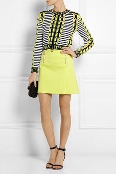 versace-yellow-stretch-cotton-mini-skirt-