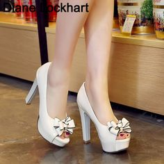 Womens High Heel Block Platform Open Toe Bowknot Pumps Summer OL Shoes All US Sz in Clothing, Shoes & Accessories, Women's Shoes, Heels Platform Block Heels, Platform Wedge Sandals, High Heel Pumps, Pumps Heels, Sexy Heels, High Heels Plateau, Frauen In High Heels, Bow Sandals, Thick Heels