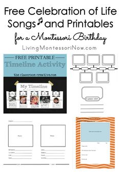 Free songs and printables for preparing a special celebration of life ceremony for a Montessori birthday in the classroom or at home.