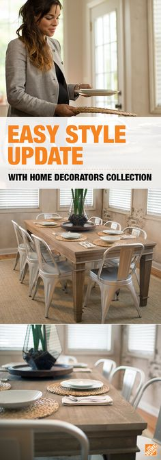 See how this rustic Highland Dining Table from Home Depot's Home Decorators Collection anchored blogger Anna Liesemeyer's dining room makeover. With its modern take on the classic farmhouse style  and extra-long length, this table is perfect for entertaining and everyday family meals. Click for ideas and inspiration on how to get a great value on your own decor makeover using Home Depot's Home Decorators Collection.