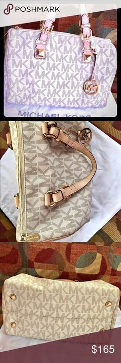 Michael Kors Grayson White Logo Satchel Authentic Michael Kors Grayson White Logo Large Satchel. Gently used! Excellent conditions!! Dust bag not included but available for purchase! Michael Kors Bags Satchels