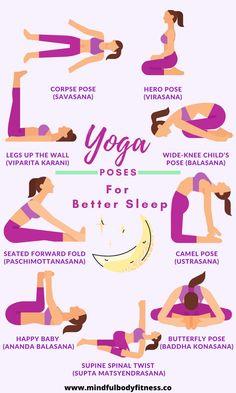 The 9 Best Yoga Poses For Better Sleep - Mindful Body Fitness Yoga Poses For Sleep, Yoga Poses For Two, Cool Yoga Poses, How To Get Sleep, Good Sleep, Sleep Better, Restorative Yoga Poses, Asana Yoga Poses, Night Yoga
