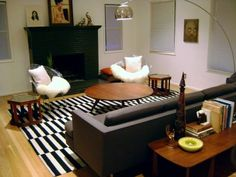 Ikea stockholm rug, harry bertoia diamond chairs and bow lamp