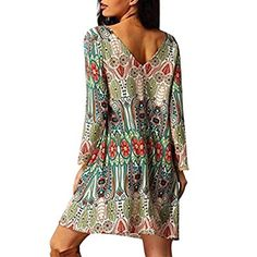 Women Dress,Haoricu Fall Women Retro National Wind Loose Round Neck Dress Clothes (XXL, Green)