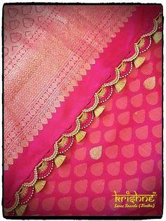 silk saree pallu enriched with embroidery and kuchu