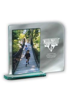 """The Mainliner Glass Photo Frame takes the """"boring"""" out of photo frames! This stylish jade glass picture frame measures x and is designed for a picture. Glass Awards, Crystal Awards, Glass Picture Frames, I Love Cats, Timeless Design, Jade, Messages, Stylish, Pictures"""
