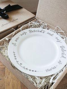 Wedding Cake Plates  Calligraphy  I am my by JenniferRaichman, $87.00