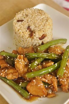 This is so yummy, taste a lot like the one at Panda express!!   a Great way to use up your fresh beans!!