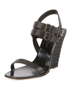 00f450e35cc5 Saint Laurent Leather Wedge Espadrille Sandal