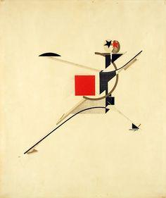 [작가]El Lissitzky [제목]New Man [연도]1923:::작품선정이유: 작품자체가 매우 조형적으로 훌륭하고, 빨간 사각형과 선의 대비가 흥미롭게 연출 될 수 있다. 이 작품에서는 대비를 강조해야겠다