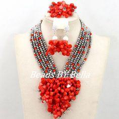 Latest-Design-Coral-Crystal-Mix-Beads-Jewelry-Set-Nigerian-Wedding-African-Beads-Set-Women-Fashion-Jewelry.jpg (600×600)