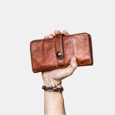 Hot-sale Men Vintage Card Holder Solid Phone Bag Long Wallet - NewChic Mobile Vintage Cards, Vintage Men, Mens Long Leather Wallet, Make Money Now, Long Wallet, Clothes For Sale, Shopping Bag, Card Holder, Phone