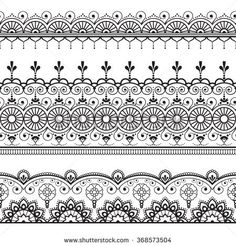 Indian, Mehndi Henna three line lace elements pattern for tattoo on white background. Border decoration elements pattern