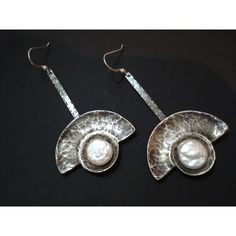Silver Hammered Pearl Earrings Metalwork Unique Handmade Earrings... (€47) ❤ liked on Polyvore featuring jewelry, earrings, earring jewelry, rivet jewelry, silver jewelry, pearl earrings jewellery and hammered silver earrings