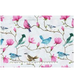 Keepsake Calico Cotton Fabric-Birds On Branches Blue - Joann Fabrics, fall 2016