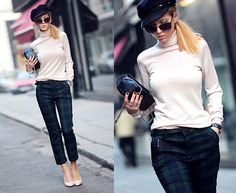 Ecugo Cheched Trousers, Persunmall High Heels Shoes, H&M Turtleneck Blouse, Parfois Watch, H&M Hat, Zara Cat Eye Sunglasses