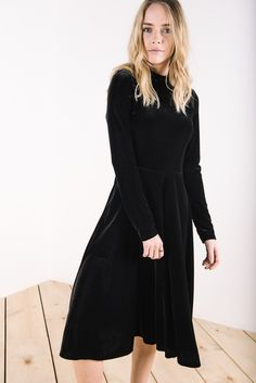 The Velvet High Neck Dress in Black