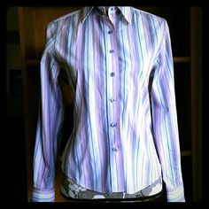 ⭐🌹HOST PICK 🌹 🌟Falconnable Blouse Gorgeous blouse with purple, lavender, light blue and white stripes Falconnable  Tops Blouses