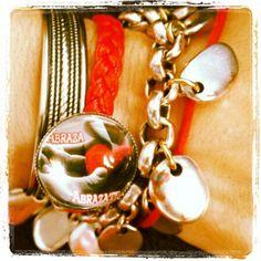 """#Pulsera """"abraza,abrázate""""#Rojo#fuego"""