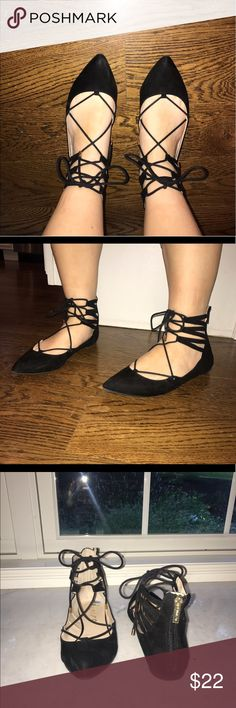 Black Lace Up Flats Black Lace Up Flats from Unisa. Nice condition except for a small scuff on the toe. Unisa Shoes Flats & Loafers
