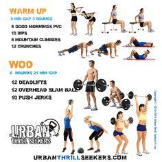 10 push jerks,  10 pushup,  12 crunches, 12 deadlifts,  12 overhead slam ball,  8 ring rows